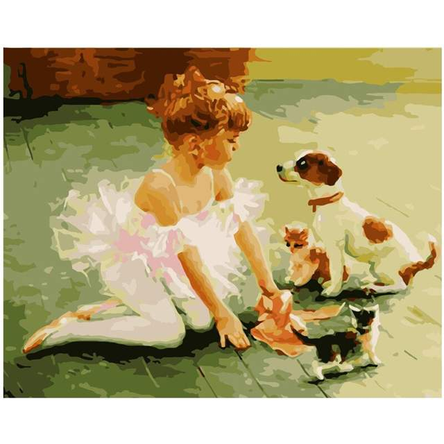 Young Ballerina with Pets Oil Drawing by Numbers