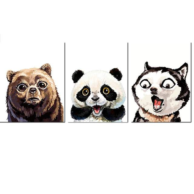 3 Pack Different Surprised Animals - Paint by Numbers Kits