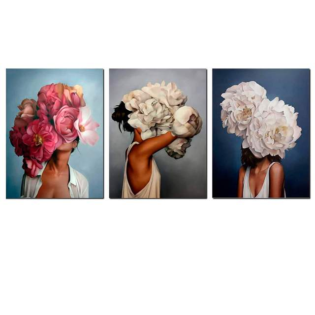 3 Piece Different Woman with Peony on Head - Paint by Numbers Kits