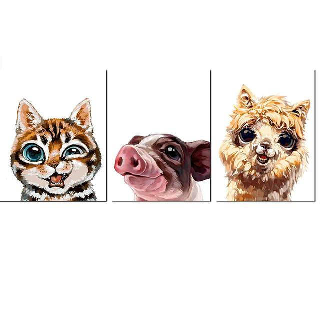 3 Set Different Happy Animals - Easy Paint by Numbers