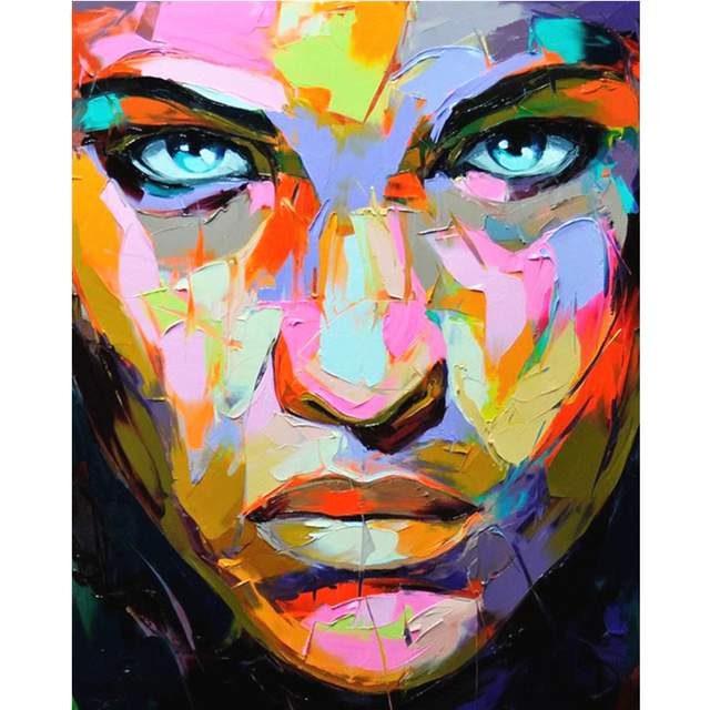 Abstract Colorful Woman Face ​- Portraits Paint by Numbers