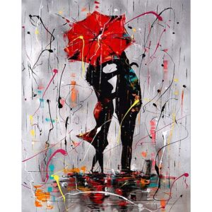 Abstract Figures under a Red Umbrella - Paint by Numbers
