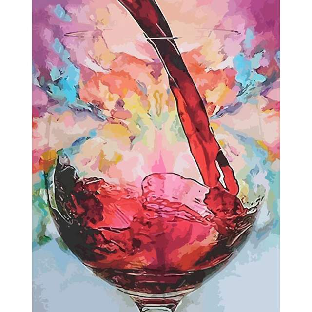 Abstract Red Wine Glass - Still life Painting by Numbers