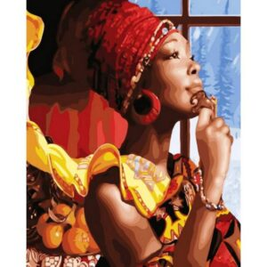 African American Lady in Ethnic Costume - Paint by Numbers Portrait