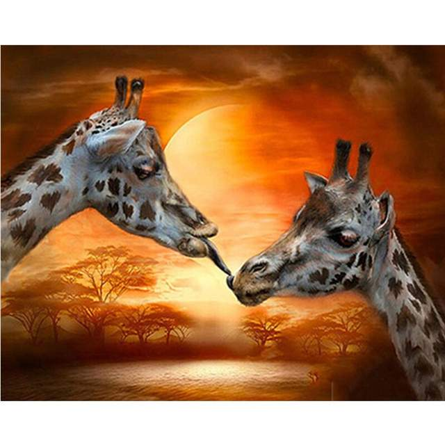 African Giraffe Love - Animals Color by Numbers Kit
