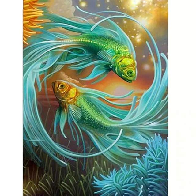 Aquarium Green Fish - Paint by Numbers Kits