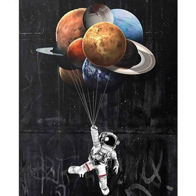 Astronaut Planets Graffiti - Color by Numbers Galaxy