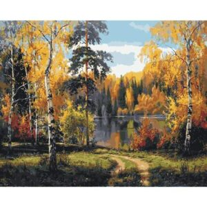 Autumn Forest Lake - Paint by Numbers Nature Scene