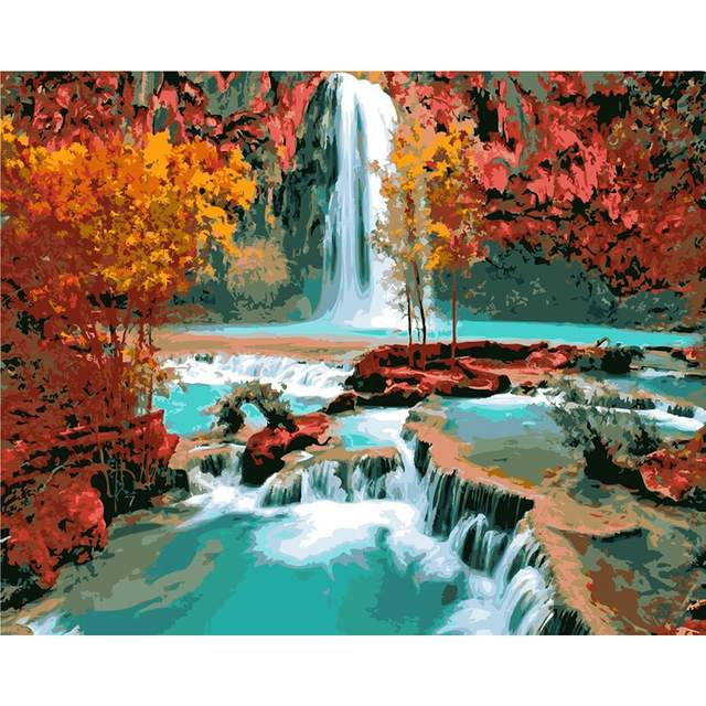 Autumn Waterfall in Grand Canyon - National Park Paint by Numbers