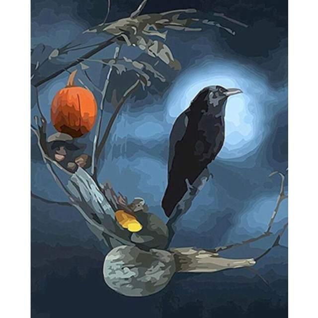 Black Crow and Moon - Halloween Color by Numbers for Adults