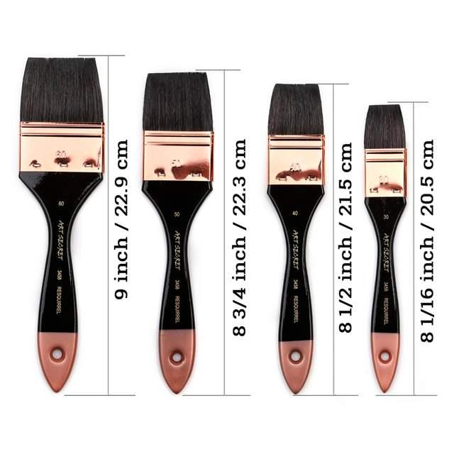Black Professional Flat Paint Brushes Size
