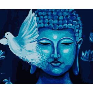 Blue Buddha and White Pigeon - Religion Paint by Numbers