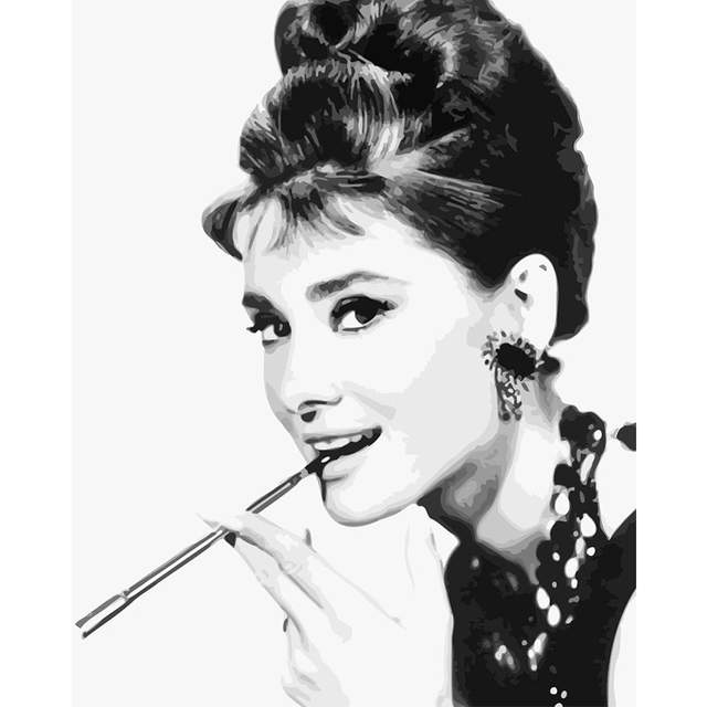 Breakfast at Tiffany's Audrey Hepburn - Paint by Numbers Portraits Famous People
