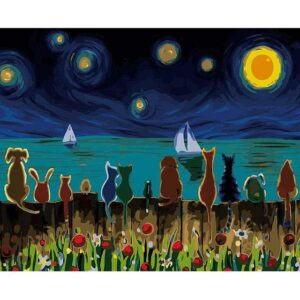 Cats and Dogs in Starry Night - Easy Paint by Numbers