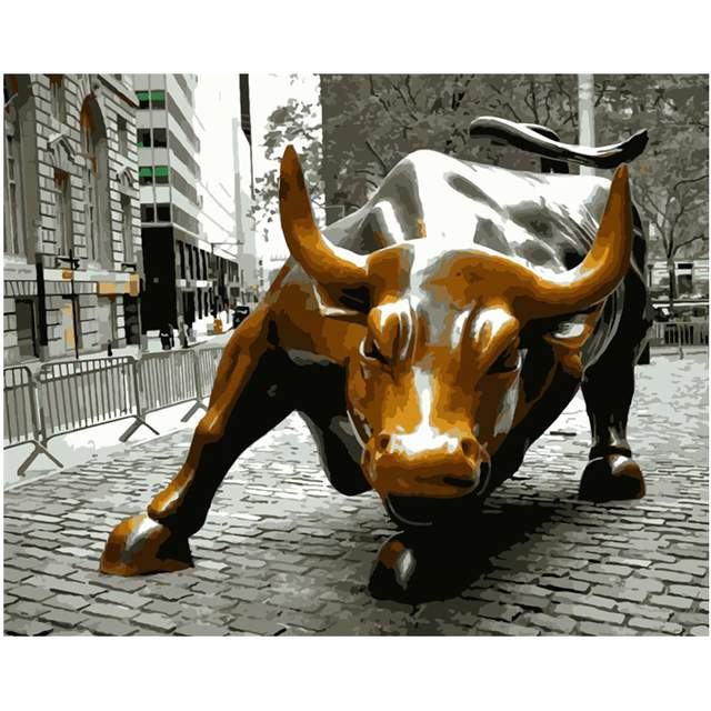 Charging Bull in New York - Paint by Numbers Cityscape