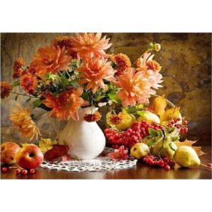 Chrysanthemums and Fruits - Still life Paint by Numbers