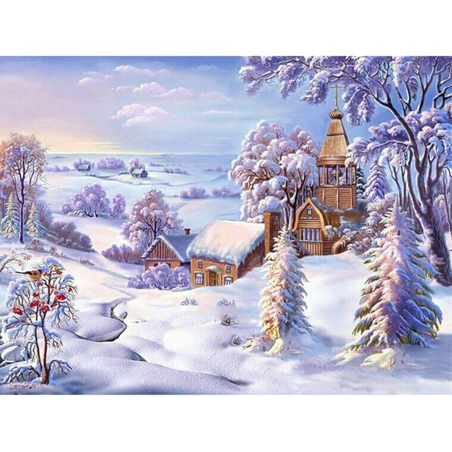 Church in the Snow - Winter Landscape Paint by Numbers