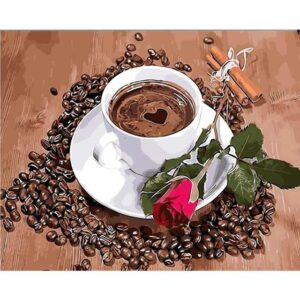 Coffee Love and Rose - Paint by Numbers Still life