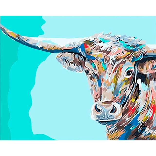 Colored Texas Cow - Paint by Numbers Farm Animals