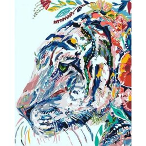 Colorful Tiger Portrait with Flowers - Easy Paint by Numbers
