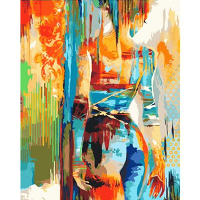 Colorful Woman Silhouette - Abstract Paint by Numbers