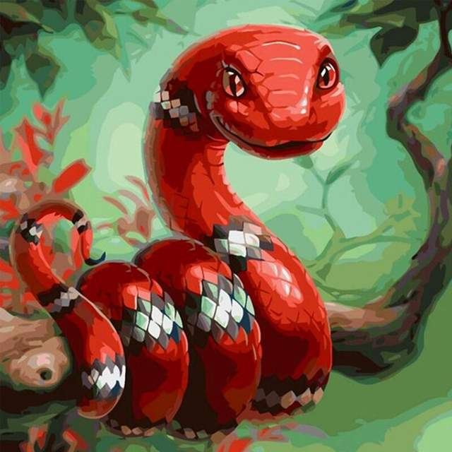 Cute Milk Snake - Paint by Numbers for Kids