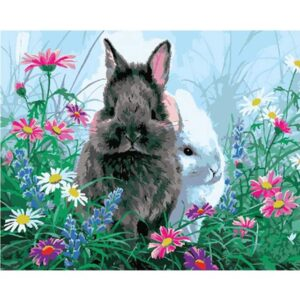 Cute Rabbits in Flower Meadow - Paint by Numbers for Kids
