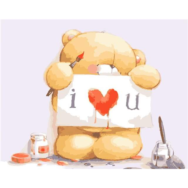 Cute Teddy Bear I Love You - Easy Paint by Numbers