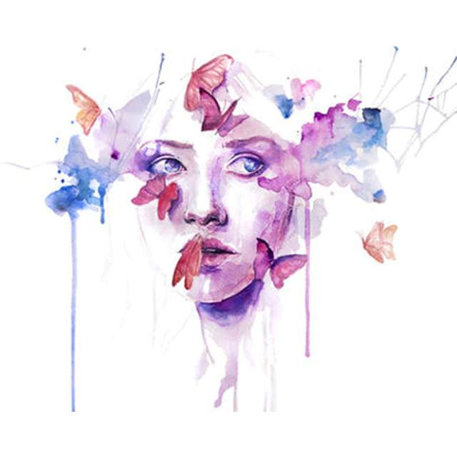 Easy Abstract Face with Butterflies - Paint by Numbers Abstract