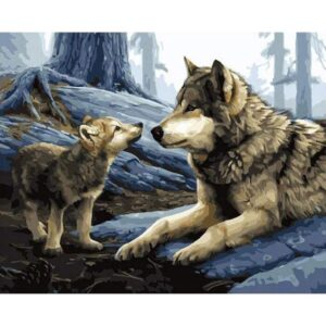 Father and Son Wolf - Paint by Numbers Forest Animals