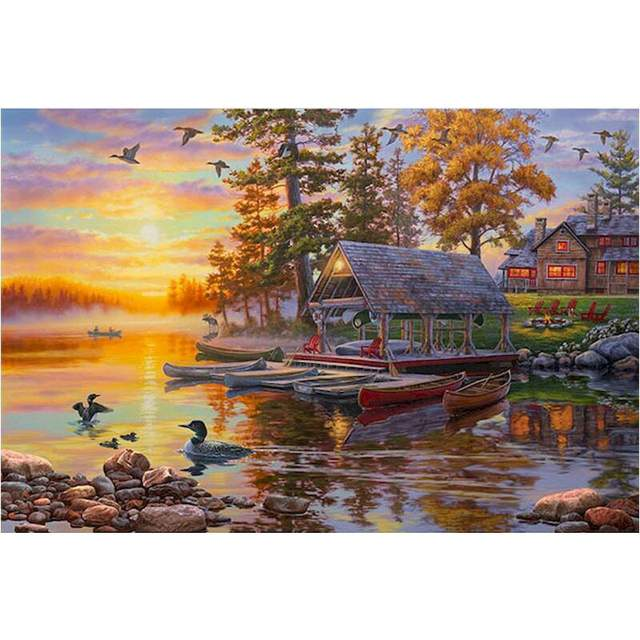 Fishing Pier in Autumn - Nature Paint by Numbers
