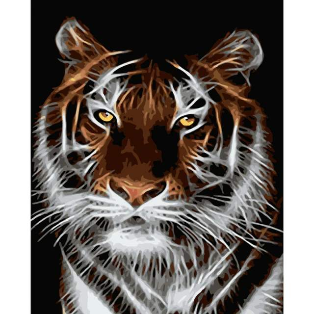 Flash Tiger - Animals Coloring by Numbers for Adults