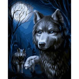 Flock of Wolves under Moon - Paint by Numbers Animals