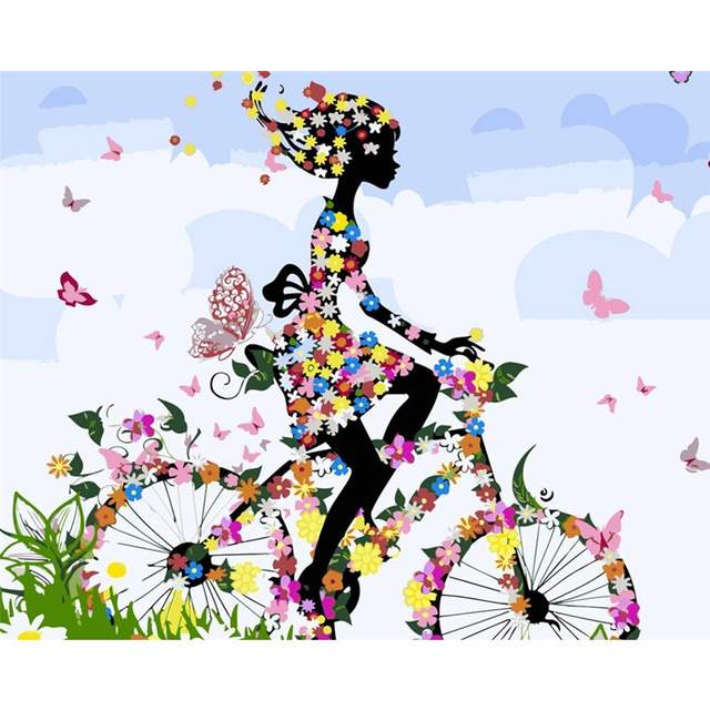 Floral Black Girl on Bicycle - Easy Paint by Numbers