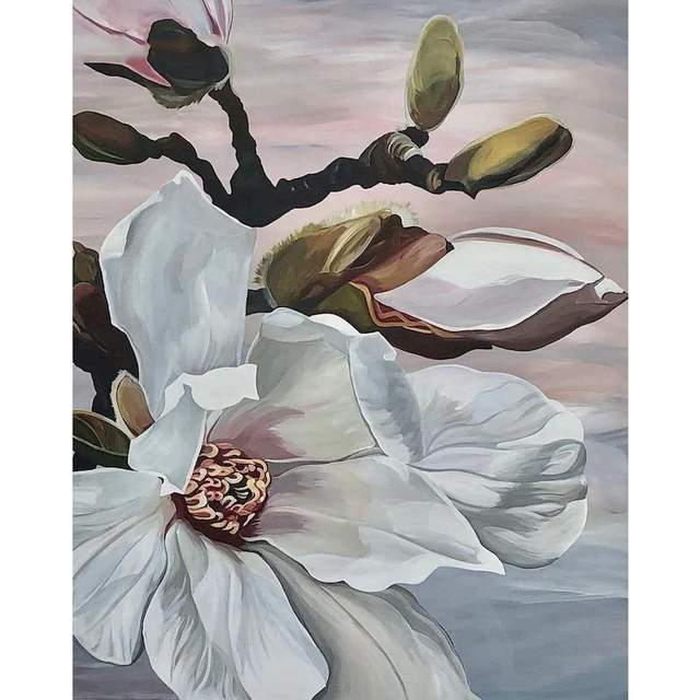 White Magnolia Flower - Floral Paint by Numbers Kits