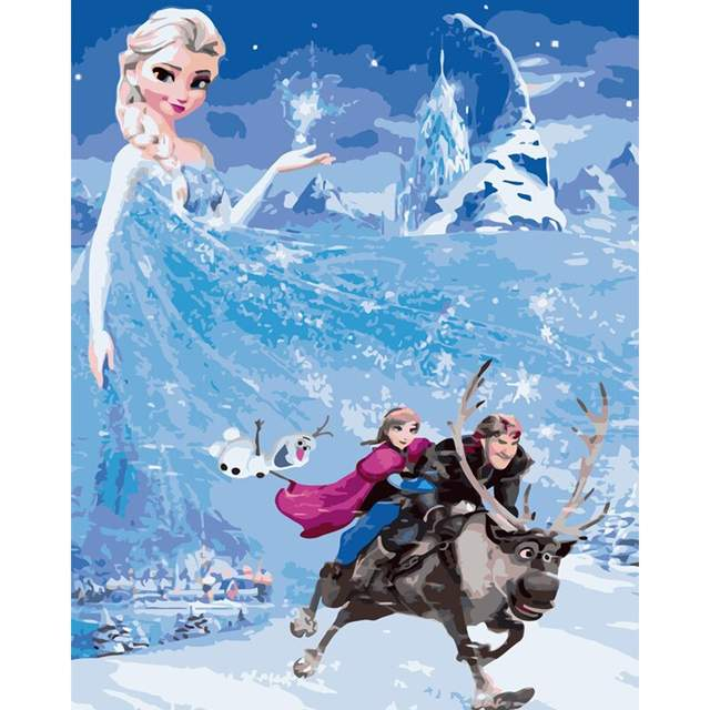 Frozen Movie Characters - Cartoon Paint by Numbers