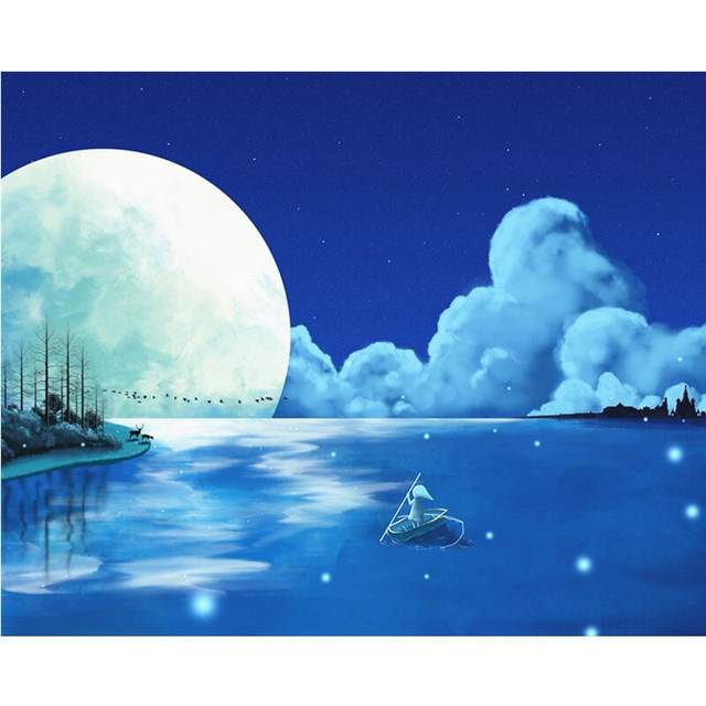 Full Moon Journey - Night Landscape Paint by Numbers