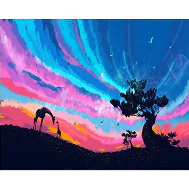 Giraffes at Night in Savannah - Paint by Numbers Scenery