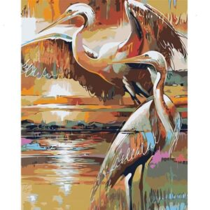 Golden Sandhill Cranes - Paint by Numbers Birds