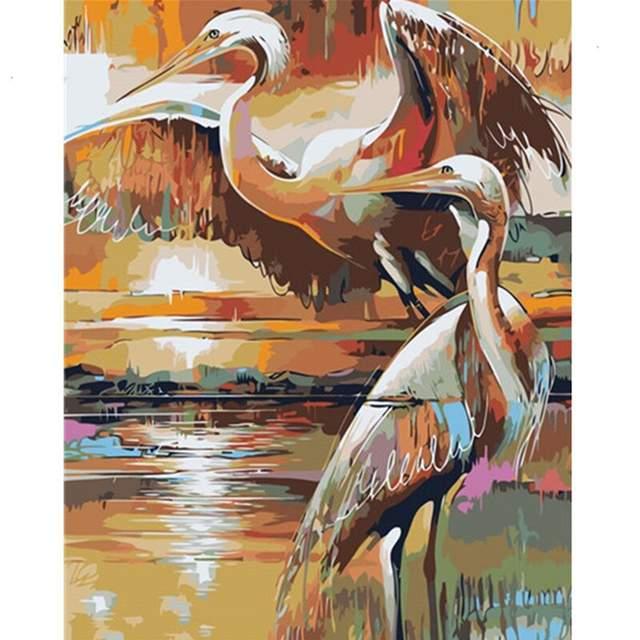 Golden Sandhill Cranes - Paint by Numbers Birds