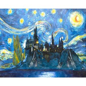 Hogwarts Castle in The Starry Night - Film Paint by Numbers