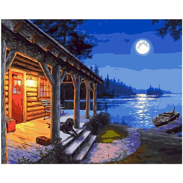 House Near the Lake - Paint by Numbers Landscape