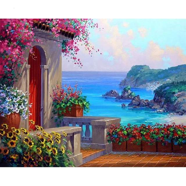 House on the Mediterranean Coast - Europe Paint by Numbers Kit
