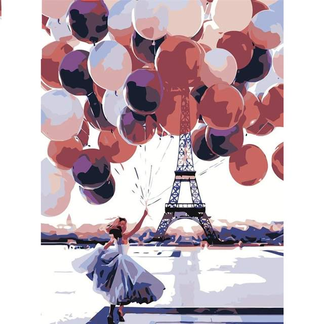 Lady with Balloons Near Eiffel Tower - Paint by Numbers Europe