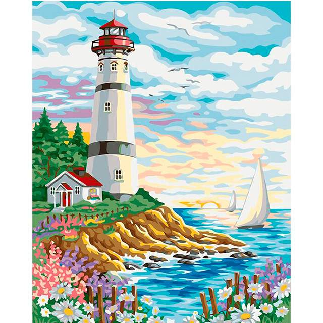 Lighthouse at Sunrise - Lighthouse at Sunrise - Ocean Paint by Numbers Kits