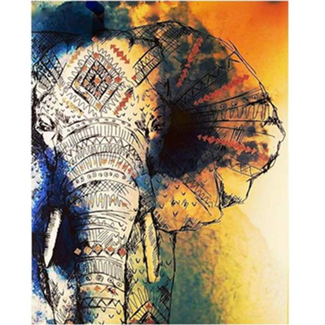 Mosaic Elephant - Animals Color by Numbers