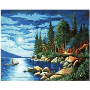 Mountain Lake At Night - Paint by Numbers Nordic Landscape