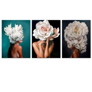Nude Woman with Flower Head - DIY Paint by Numbers Set 3 Pack