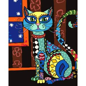Paisley Pattern Cat - Easy paint by Numbers