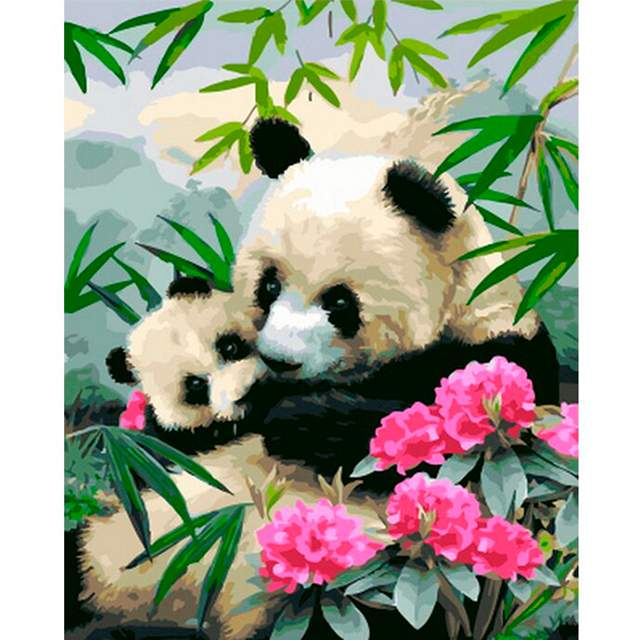 Panda Bear Mom and Baby - Animals Paint by Numbers Kits